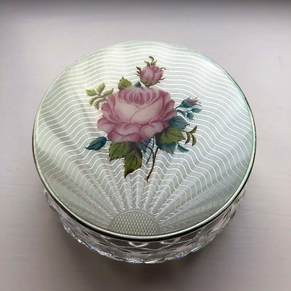 A White And Pink Rose Enamel And Sterling Silver Powder Jar.