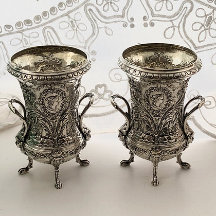 A Pair Of German Silver Decorative Embossed Vases Circa 1900.
