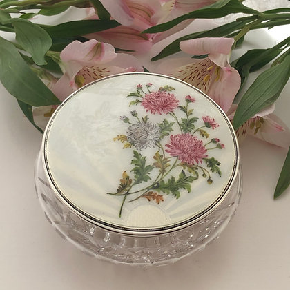 A White Enamel And Silver Dressing Table Jar With Painted Chrysanthemums.