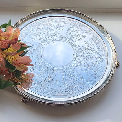 A Sterling Silver Antique Salver Hand Engraved With Fruit, Flowers London 1874.