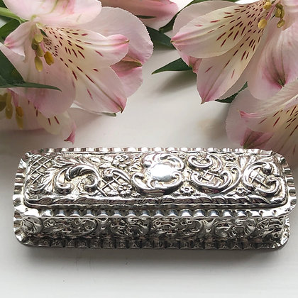 A Silver Box With Embossed Decoration Chester 1900.