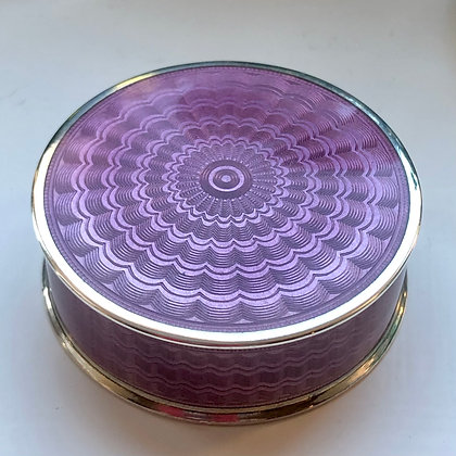 A Small Sterling Silver And Enamel Circular Box With A Lift Of Lid London 1910.