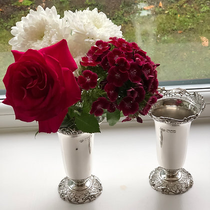 A Pair Of Silver Vases With Delicate Lace Pierced Decoration Made By Garrards.