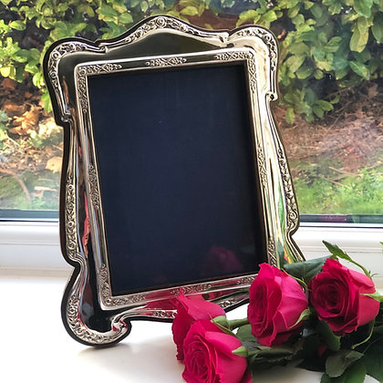 A Antique Sterling Silver Picture Frame Birmingham 1913 With Rose Pattern.
