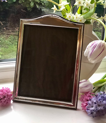 Antique Sterling Silver Picture Frame With A Decorated Arch Top Birmingham 1911