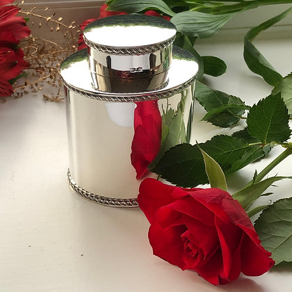 Sterling Silver Tea Caddy Birmingham 1931 Plain Design With A Gadrooned Boarder.