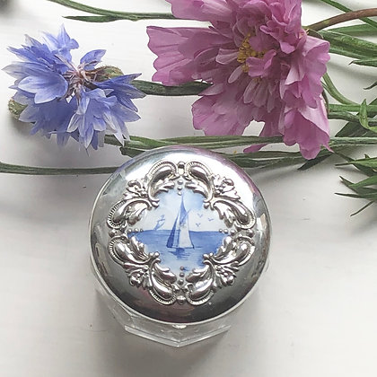 An American Dressing Table Jar, The Silver Lid Set With An Enamel Seascape.