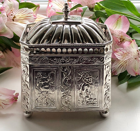 A Dutch Silver Tea Caddy Circa 1900.