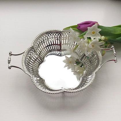 A Sterling Silver Bon Bon Dish Birmingham 1922 With Pierced Design.