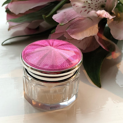 A Pink Sterling Silver And Enamel Topped Dressing Table Jar Birmingham 1925.