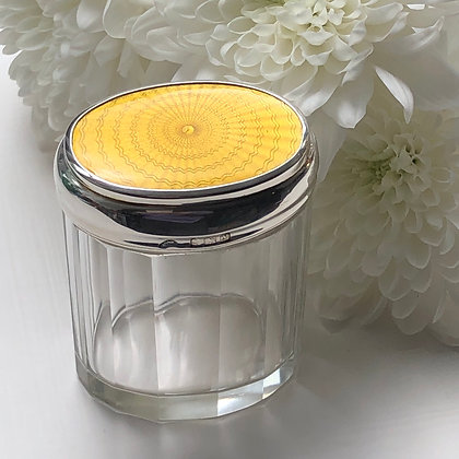 A Oval Shaped Yellow Enamel And Silver Topped Jar Birmingham 1923.
