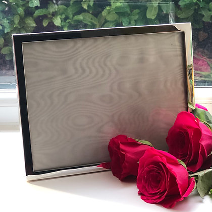 A Sterling Silver Plain Picture Frame With A Wooden Covered Back London 1985.