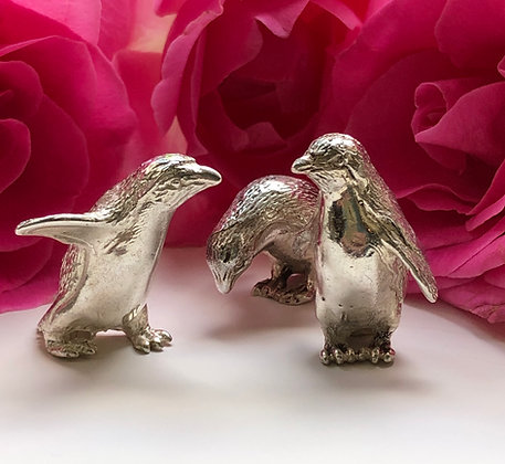 A Set Of Three Modern Silver Models of Penguins Sheffield 2016.