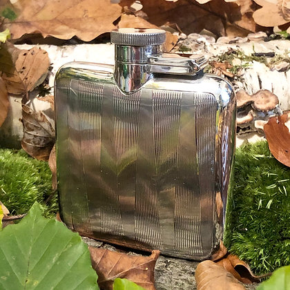 A Art Deco Sterling Silver Hip Flask Birmingham 1929.