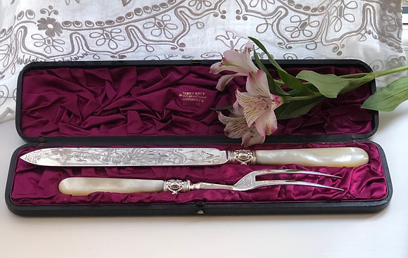 A Silver Plated And Mother Of Pearl Cake Serving Set circa 1900.
