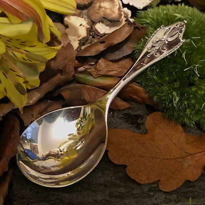 A Sterling Silver Gorge Jensen Tea Caddy Spoon.