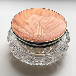 A  Art Deco Silver And Peach Coloured Enamel Dressing Table Birmingham 1936.Jar