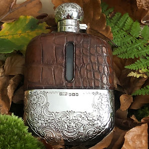 A Antique Crocodile Skin And Sterling Silver Hipflask Sheffield 1891.
