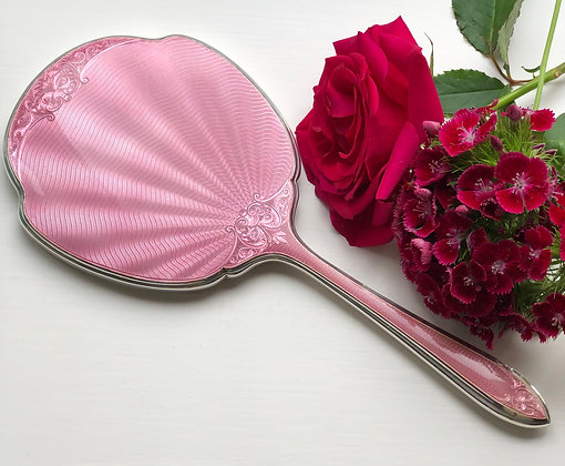 A Pink Art Deco Silver And Enamel Dressing Table Mirror Sheffield 1931.