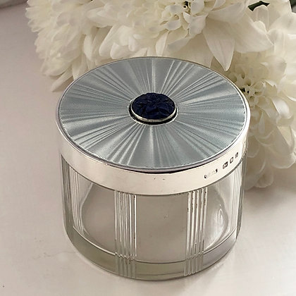 A Silver And Grey Enamel and Lapis stone Dressing Table Jar.