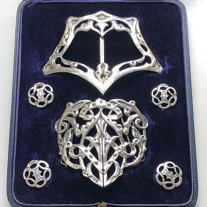 A Silver Buckle And Button Set Made By Samuel Jacob London 1906.