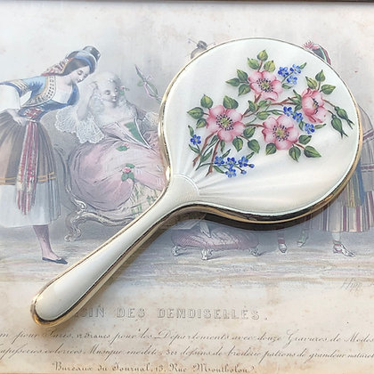 A Very Pretty Enamel And Silver Small Size Hand Mirror Birmingham 1962.