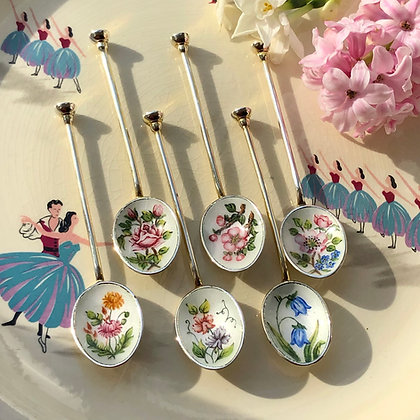 Flower Pattern Six Sterling Silver And Enamel Tea/Coffee Spoons Birmingham 1965.