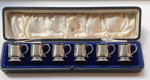 A Set Of Six Silver Miniature Tot Tankards In Original Box.