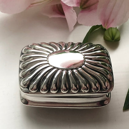 A Silver Box In The Shape Of A Cushion With A Fluted Design Chester 1888