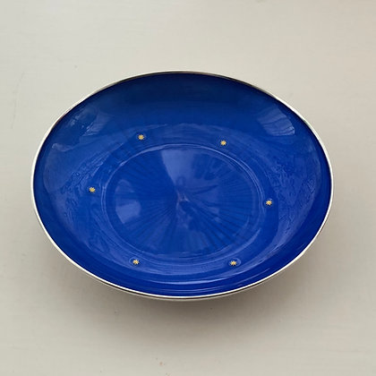 A Silver Dish By David Anderson with Blue Enamel And Gold Star Design.
