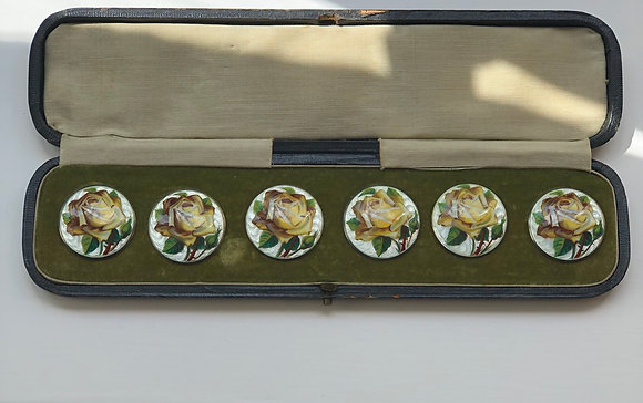 A Set Of Six Silver And Translucent Enamel Yellow Rose Buttons In Original Case
