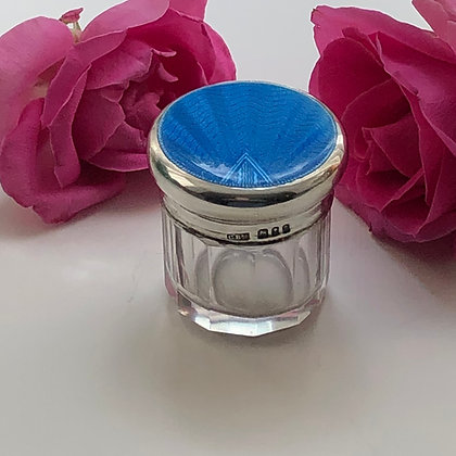 A Art Deco Silver And Blue Enamel Dressing Table Jar London 1933.
