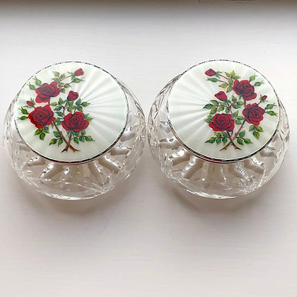 A Pair Of Sterling Silver And Enamel Powder Bowls With Rose Decoration.