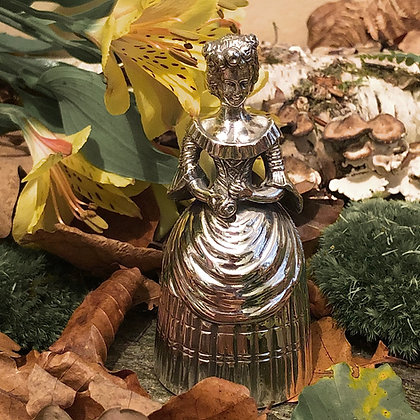 A German Silver Bell Circa 1900 In The Form Of A Elegant Lady.