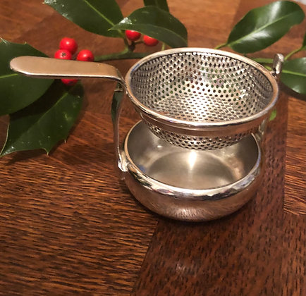 A Silver Plated Tea Strainer From A Old Posh Gentlemans Club London.