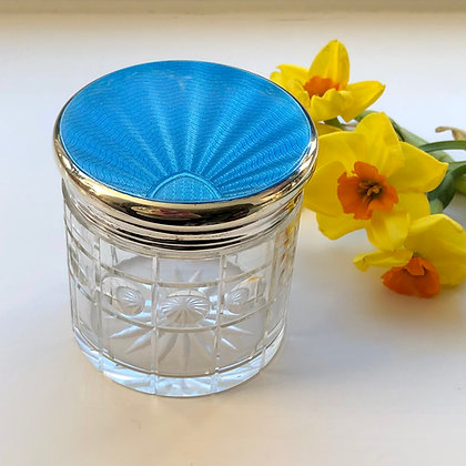 A Turquoise Sterling Silver And Enamel Lidded Jar London 1932.
