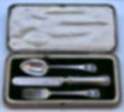 A Boxed Silver Three Piece Christening Set Made In Sheffield In 1903.
