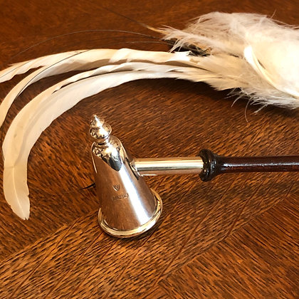 A Sterling Silver Candle Snuffer With A Wood Turned Handle Birmingham 1961.