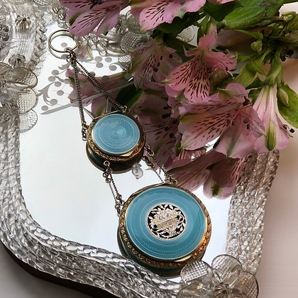 An Art Deco Silver And Enamel Double Compact Made In Austria.