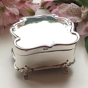 A Antique Sterling Silver Jewellery Box Birmingham 1908.