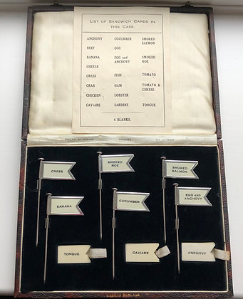 A Set Of Six Silver and Celluloid Sandwich Flags Birmingham 1928.