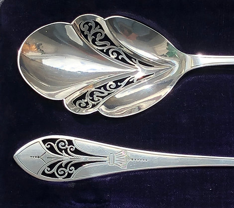 A Mappin And Webb Matching Pair Of Silver Serving Spoons With Pierced Design.