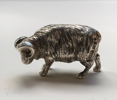 A Silver Model Of A Ram Made In London In 1978.