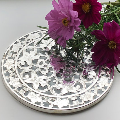A Sterling Silver Overlay Pierced And Engraved Trivet Stand American Circa 1950.