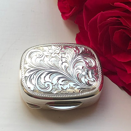 A Sterling Silver Hand Engraved Small Box London 2008.