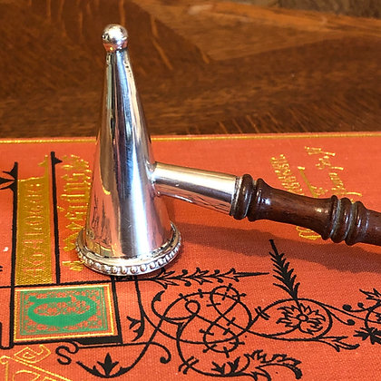 A Sterling Silver Candle Snuffer On A Wooden Handle London 1976.