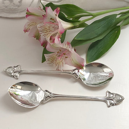 A Pair Of Art Nouveau Style Silver Plated Jam Spoons Circa 1900.