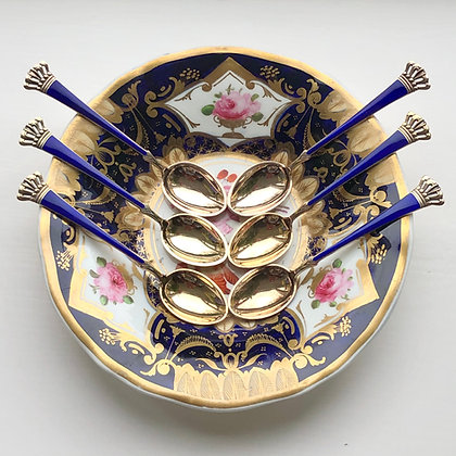 A Set Of Danish Sterling Silver Gilt And Enamel Coffee/Tea Spoons.