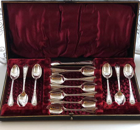 A Set Of Victorian Silver Plated Tea Spoons With Matching Tongs Circa 1890.