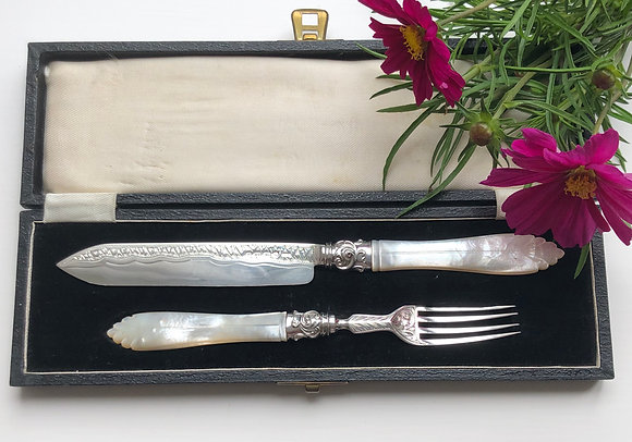A Silver And Mother Of Pearl Cake Serving Set Birmingham 1873.